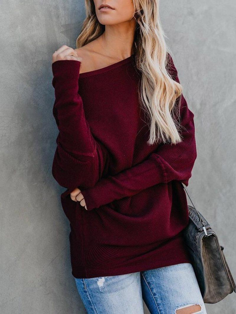 Ericdress Loose Casual Plain Oblique Collar Knitwear
