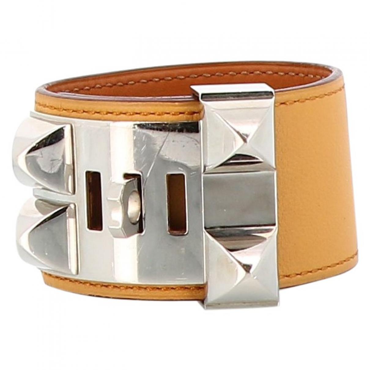 Hermes - Bracelet Collier de chien  pour femme en cuir - beige