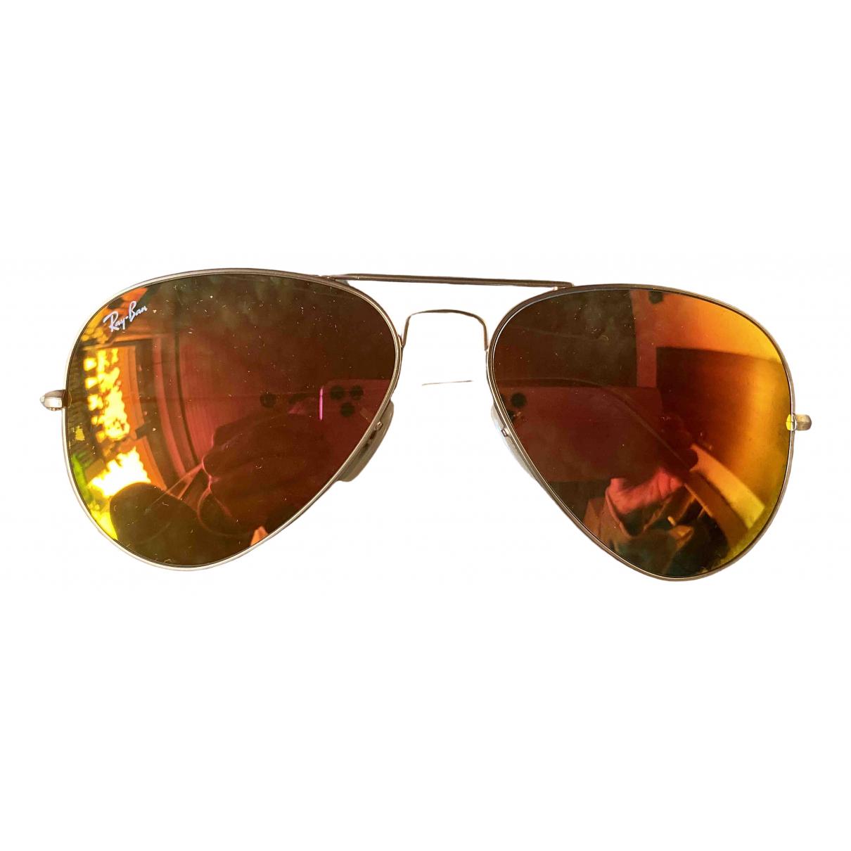 Ray-ban Aviator Sonnenbrillen in  Rot Metall