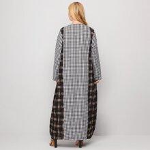 Plus Gingham V-neck Tunic Dress