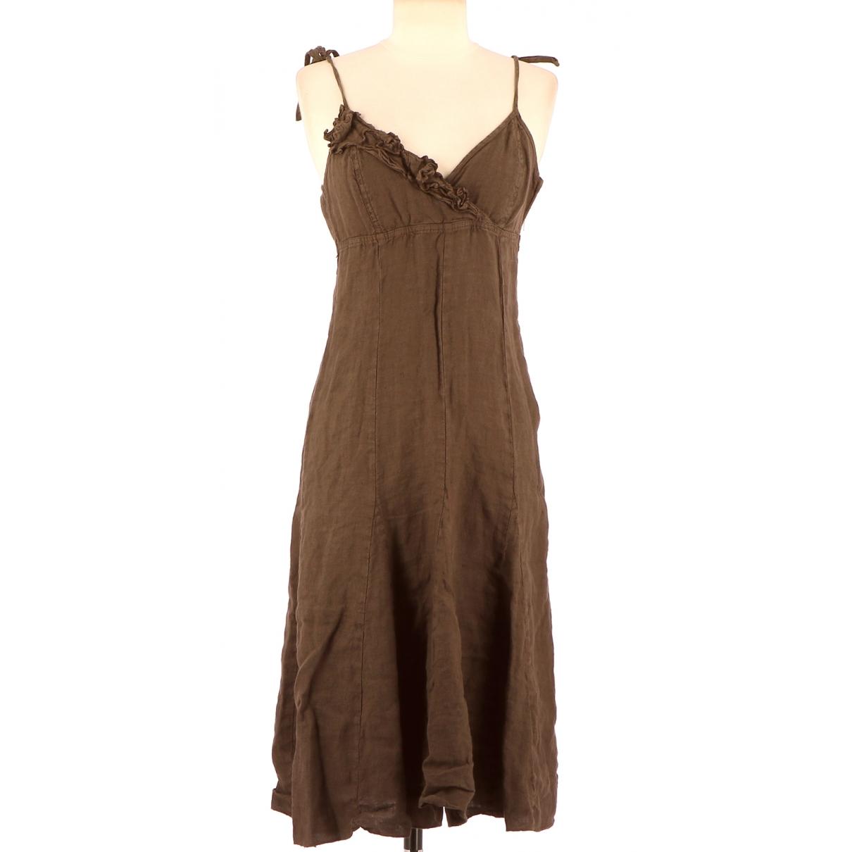 - Robe   pour femme en lin - marron