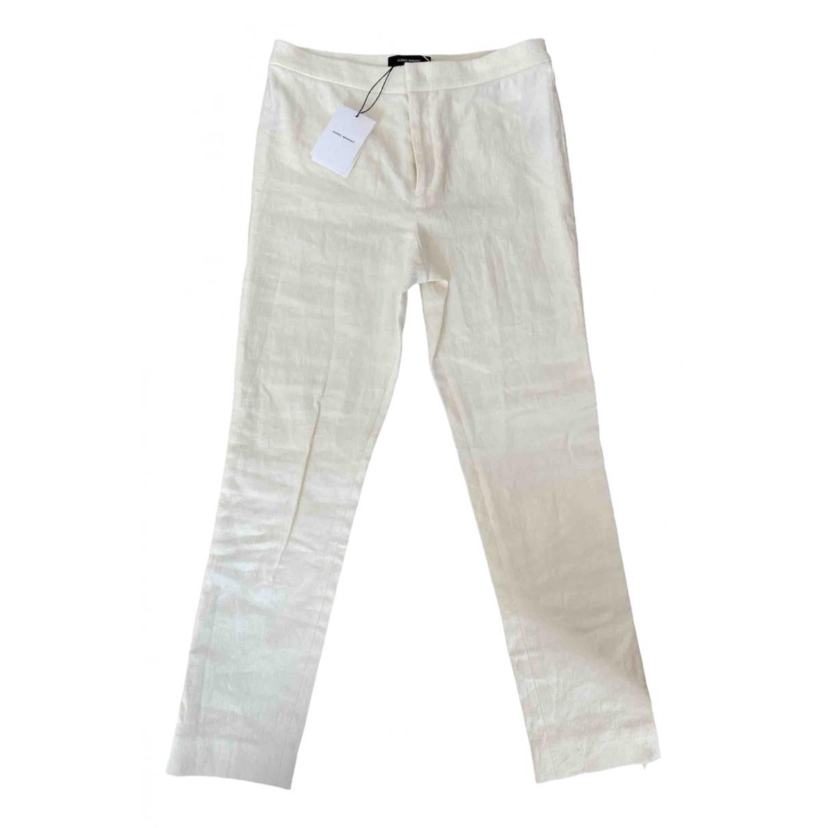 Isabel Marant N Beige Linen Trousers for Women 38 FR