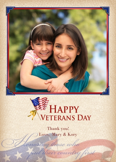 Veteran's Day Cards 5x7 Folded Cards, Premium Cardstock 120lb, Card & Stationery -Happy Veterans Day