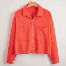 Plus Pocket Front Button Through Blouse
