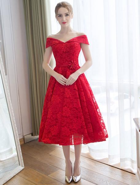 Milanoo Lace Cocktail Dresses Off The Shoulder Red Lace Up Sash Tea Length Short Party Dress wedding guest dress