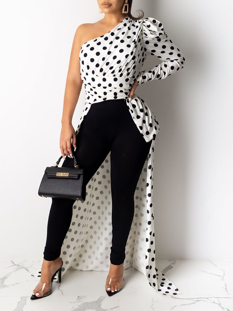 Ericdress Polka Dots Print Asymmetry Women's Long Blouse