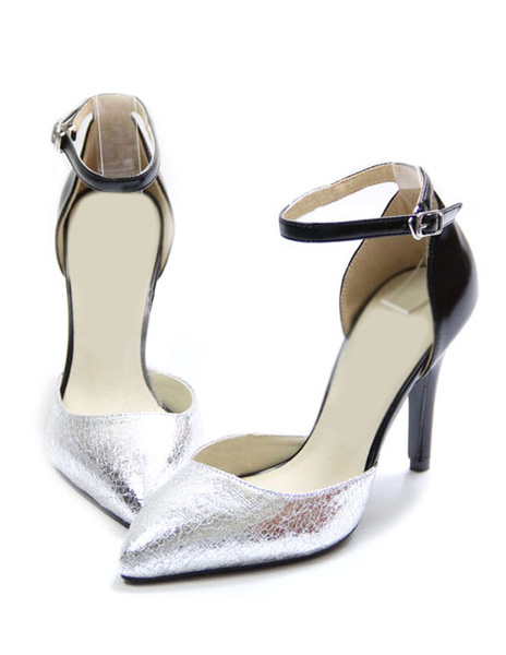 Milanoo Women Mid Heels Silver Ankle Strap Faux Leather Metallic Pointy Toe Heeled Shoes