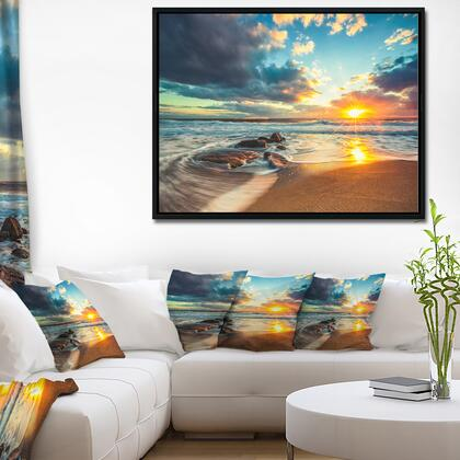 FL10473-42-32-FLB Beautiful Cloudscape Over The Sea - Modern Beach Framed Canvas Art Print -
