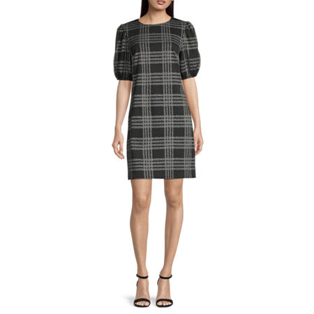London Style Short Sleeve Plaid Shift Dress, 10 , Black