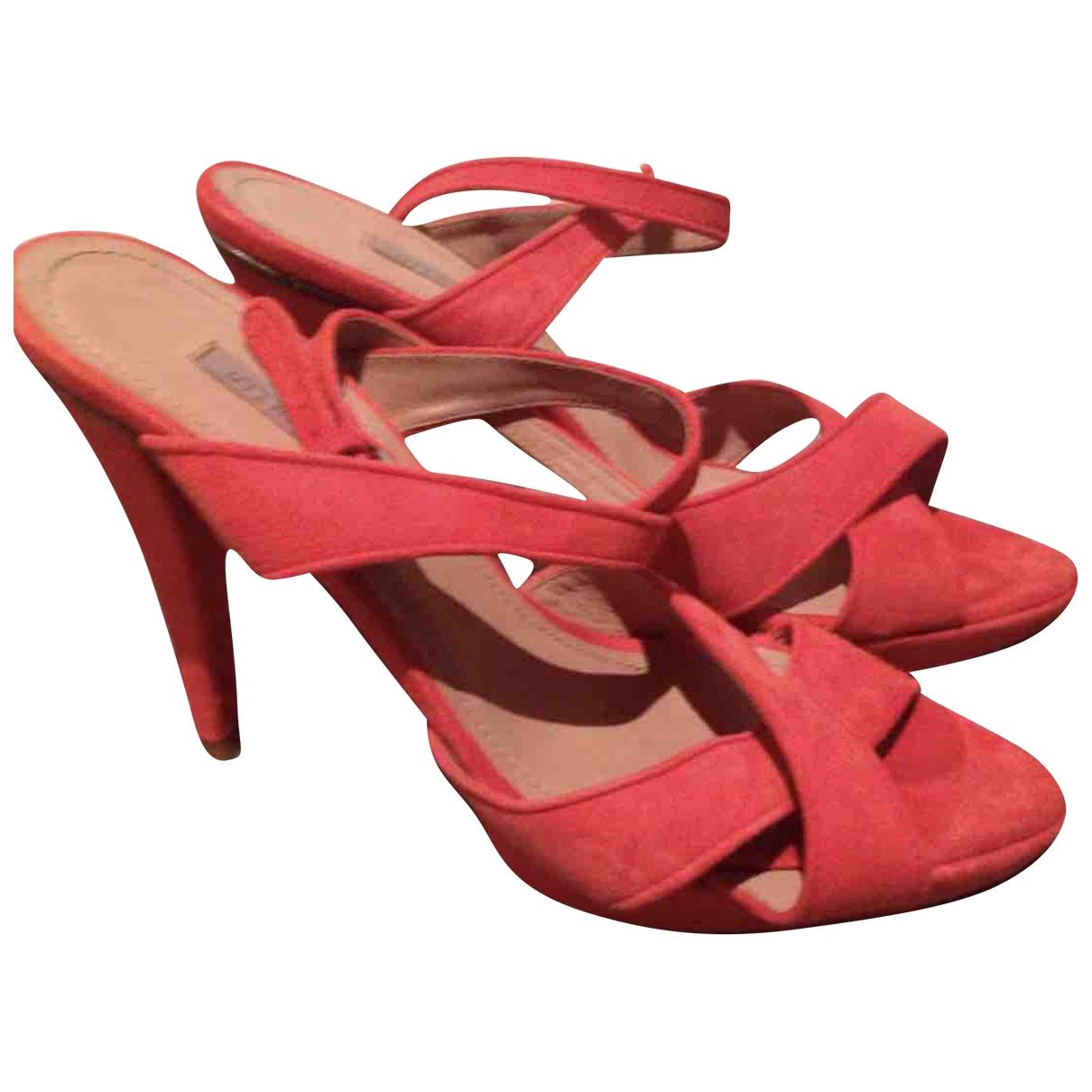 Uterque - Sandales   pour femme en suede - rouge