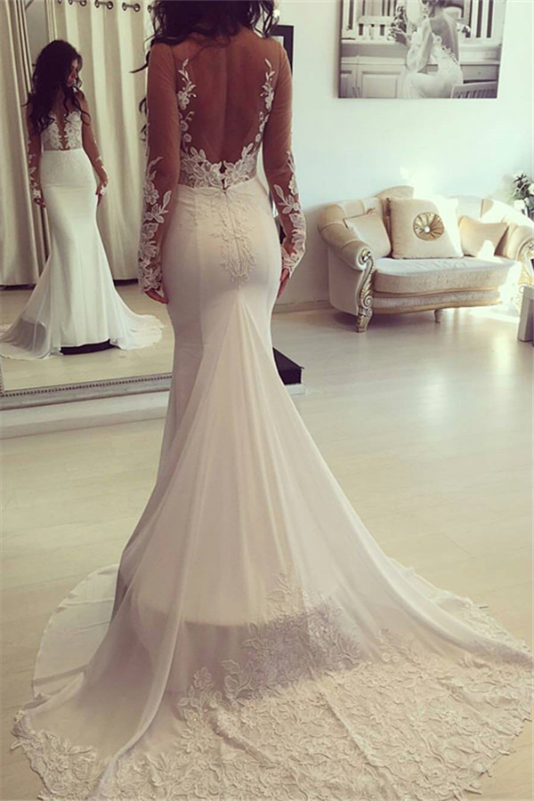 Elegante sirena Sheer mangas largas apliques Vestidos de novia