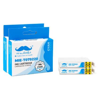 Compatible Epson 79 T079220 cartouche d'encre cyan haute capacite - Moustache@ - 2/paquet