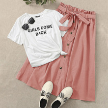 Slogan Graphic Tee & Button Front Belted Skirt Set