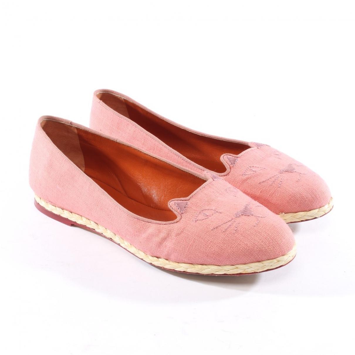 Charlotte Olympia - Ballerines   pour femme en toile - rose