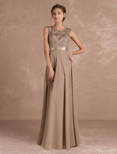 Milanoo Chiffon Mother's Dress Lace Beading Formal Evening Dress Sleeveless Taupe Sash Floor Length Wedding Guest Dresses