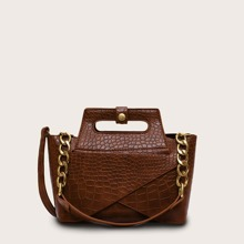 Croc Embossed Satchel Bag With Inner Clutch