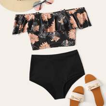 Tropical Flounce High Waisted Bikini Swimsuit