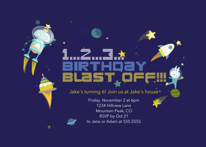 Kids Birthday Party Invites 5x7 Folded Cards, Standard Cardstock 85lb, Card & Stationery -Blast Off!