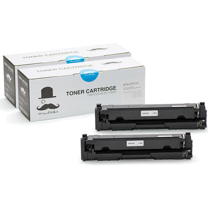 Compatible HP 410A CF411A Cyan Toner Cartridge - Moustache - 2/Pack