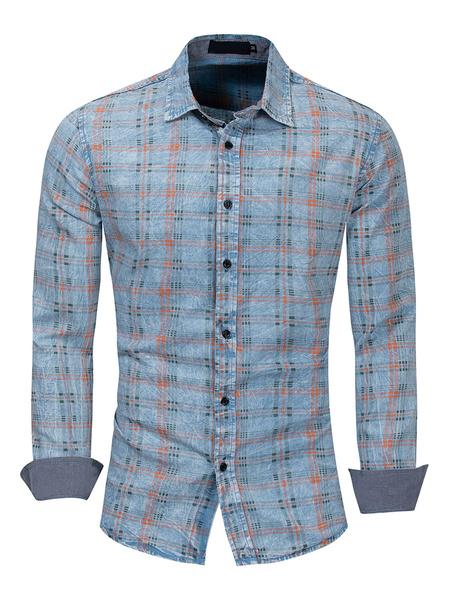 Milanoo Men\'s Regular Fit 100% Cotton Denim Plaid Shirt In Blue