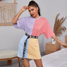 Colorblock Drop Shoulder Oversized Tee Dress Without Belt