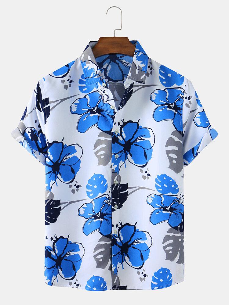 Mens Floral Printed Light Casual Short Sleeve Shirts