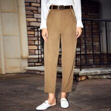 Solid High Waist Tapered Pants Without Belt