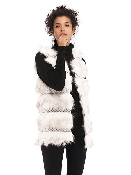Milanoo Women\'s Faux Fur Coats White V-neck Long Sleeves Cotton Polyester Winter Coat
