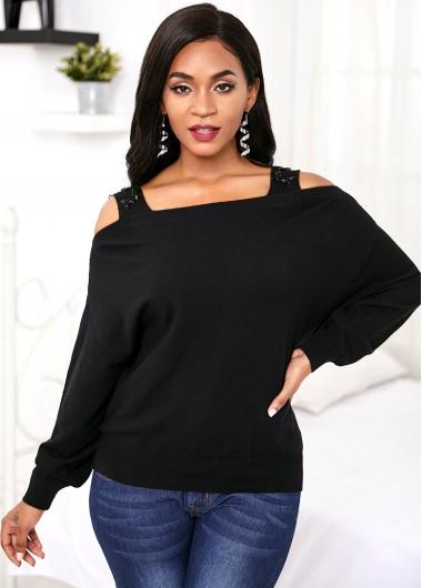 Trendy Black Cold Shoulder Long Sleeve Sweater - S