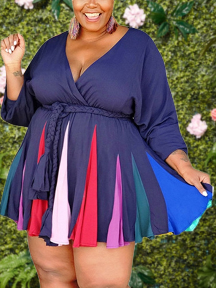 LW lovely Trendy V Neck Patchwork Dark Blue Mini Plus Size Dress