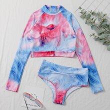 Bañador bikini con cremallera trasera con patron abstracto