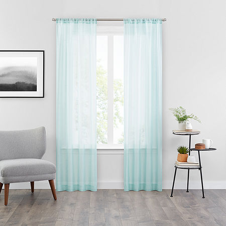 Vue Snow Sheer Rod-Pocket Set of 2 Curtain Panel, One Size , Blue