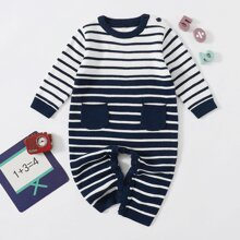 Baby Boy Striped Pattern Dual Pocket Sweater Jumpsuit