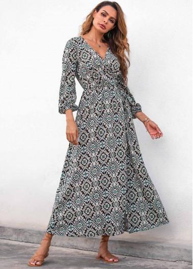 Black Dresses Tribal Print Three Quarter Sleeve Maxi Dress - 2XL