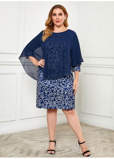 Plus Size Cover Up and Printed Dress - 4XL