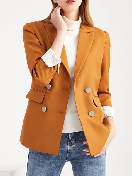 Milanoo Women Casual Blazer Chic Yellow Turndown Collar Long Sleeves Double Buttons Slim Fit Blazer Jackets