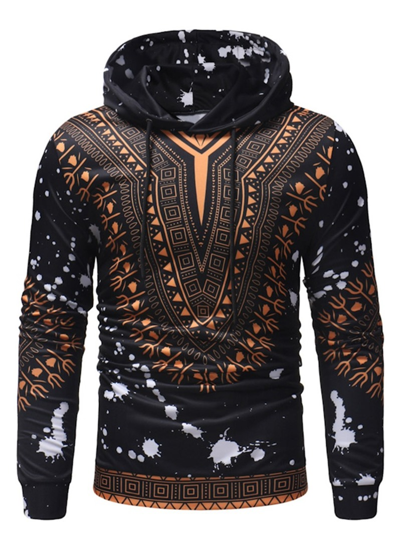 Ericdress Color Block Print Pullover Slim Men's Hoodies