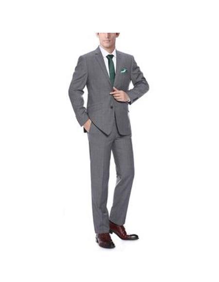 Mens Dark Grey Flap Two Pockets Notch Lapel Wool Slim-Fit 2-Piece Suit