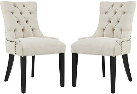 Regent Collection EEI-2743-BEI-SET Set of 2 Dining Chairs with Black Rubberwood Tapered Legs  Nailhead Trim  Non-Marking Foot Caps  Solid Wood Frame