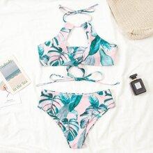 Tropical Wrap Halter Bikini Swimsuit