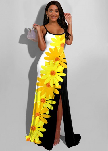 Wedding Guest Dress Spaghetti Strap Side Slit Daisy Print Maxi Dress - 10