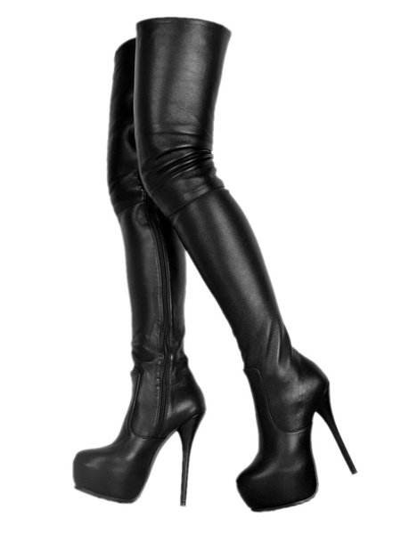 Milanoo Platform Thigh High Boots Womens PU Round Toe Stiletto Heel Over The Knee Boots