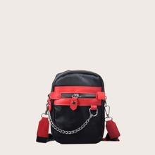 Chain Decor Colorblock Crossbody Bag