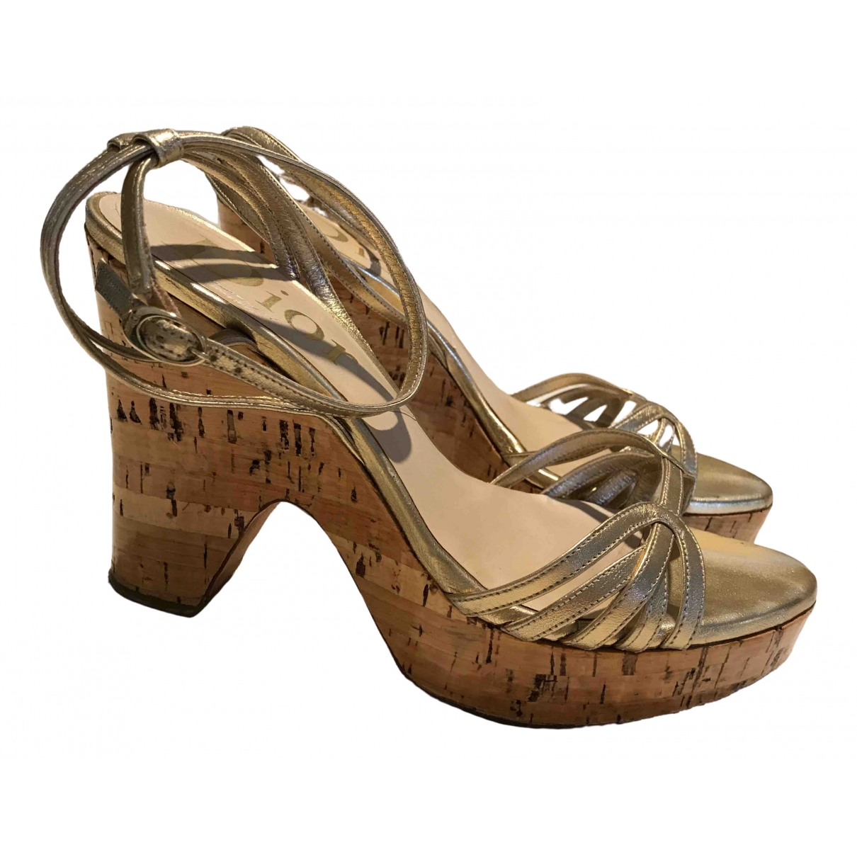 Dior \N Gold Leather Sandals for Women 37 EU
