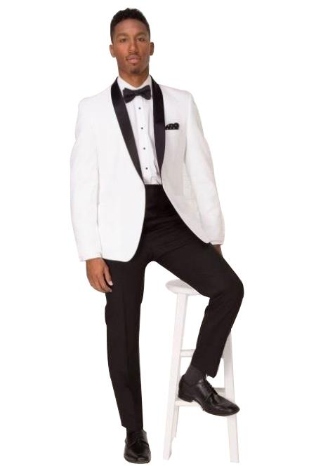 Men's White Shawl Lapel 1 Button Single Breasted Tuxedo Suit
