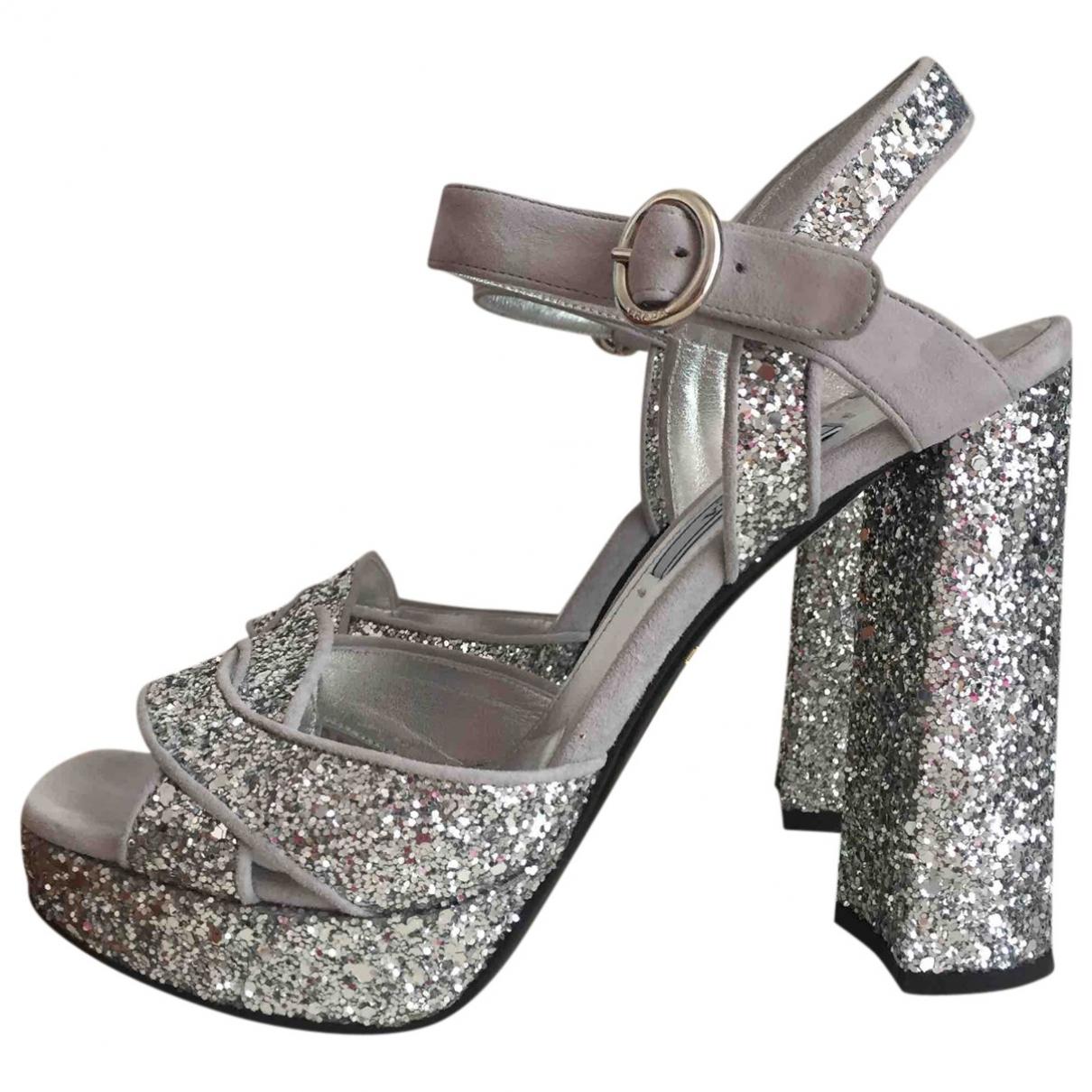 Prada \N Silver Glitter Sandals for Women 36.5 IT