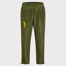 Men Zip Pocket Side Drawstring Detail Wind Pants