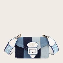 Tasche mit Farbblock und Schnalle Dekor