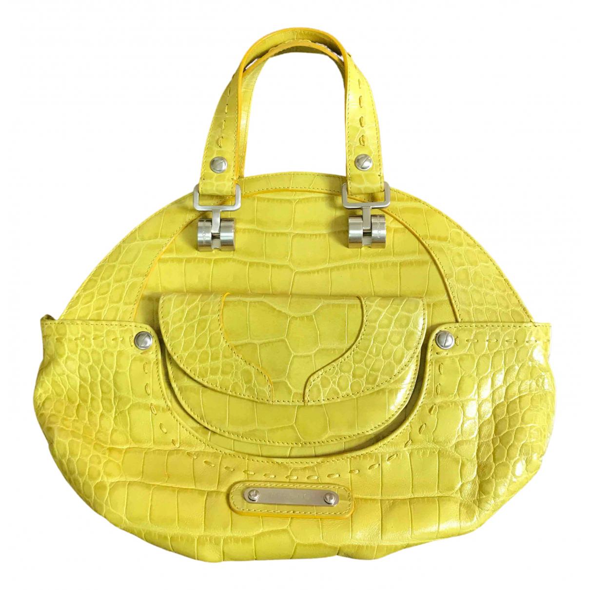 Versace - Sac a main   pour femme en cuir - jaune