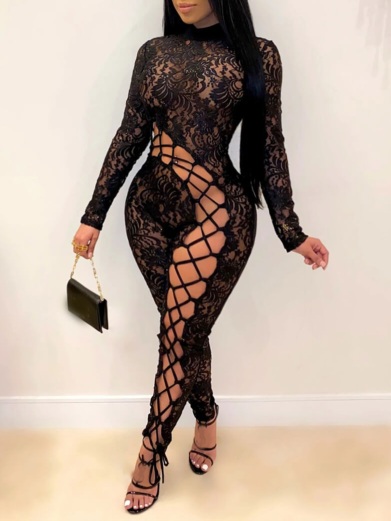 LW Lovely Sexy Turtleneck Lace Patchwork Hollow-out Black Plus Size One-piece Jumpsuit
